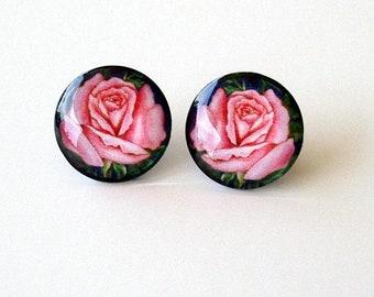 Pink RoseEarrings Button Style Glass Round Art Flower Jewelry