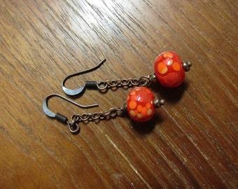 Red Orange Lampwork Copper Chain Earring