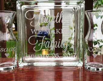 5 Piece Personalized Glass Block - Sand Ceremony Set - Together We Make A Family - Pouring  Vases - Blended Family Set