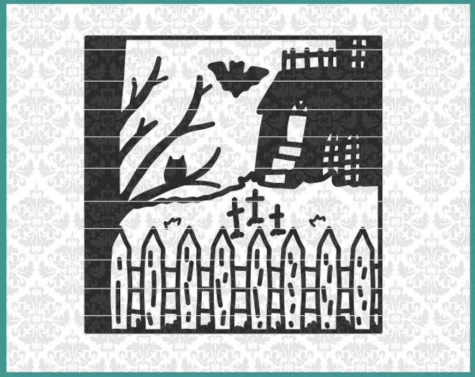 CLN0662 Halloween Haunted House Square Glass Block Scene SVG DXF Ai Eps PNG Vector Instant Download Commercial Cut File Cricut Silhouette