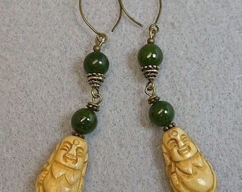 Vintage Nephrite Jade Bead Dangle Drop Earrings,Vintage Bone Buddha Beads,Handmade Antiqued Brass Ear Wires