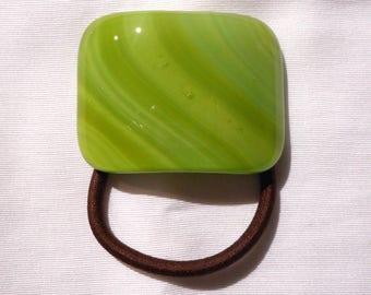 Glass Ponytail Holder, Multi–hued Green Fused Glass, Handmade Hair Accessories, Women's Accessories, Curved Green Glass Hair Tie