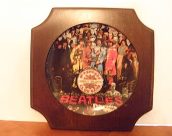 Beatle's Sgt. Pepper Plate with Wooden Frame