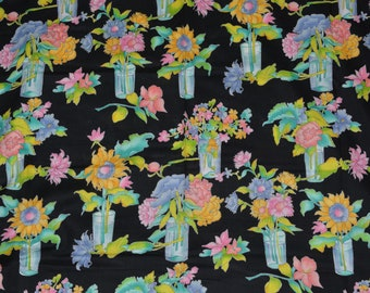 Sunflower fabric vintage cotton fabric Alexander Henry Fabric by the yard large scale flowers bright floral sunflowers black floral