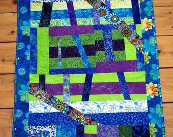 Modern Art Quilt Wall Hanging, Blue, Green, Purple, Quiltsy Handmade, Contemporary Fiber Art