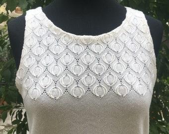 Vintage original 60s embroidered wool fabric white mini dress