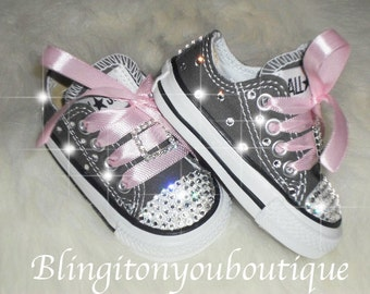 Sale Baby infant toddler Converse Chuck Taylors  Swarovski Crystals Bling SHOES ALLSTAR rhinestone Pageant princess PHOTO Prop gray pink