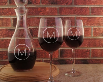 Design Your Own Monogrammed Stemware Personalized with Our Monogram Design Options & Font Selection (Each)