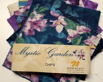 """Northcott Mystic Garden Chips Charm Pack 42 5"""" Squares Free Shipping"""