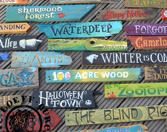 Personalised Customize Movie Location Wooden Sign - hand painted 14 inch indoor outdoor unique and personal gift