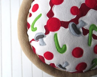Pizza Pillow, Custom Toppings, Deep Dish Pizza, Pizza Plush, Made to Order