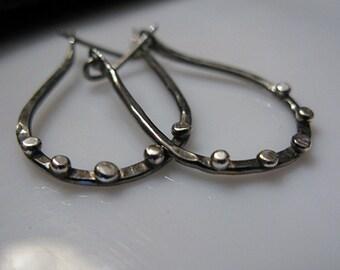 Silver Stud Earrings Black Hoop Earrings Black Rhodium Hammered Silver Earrings Black Silver Earrings Large Hoop Earring Boho Earring