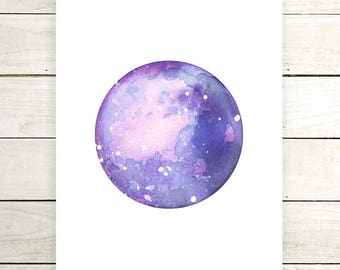 "Planet Watercolor Painting. ""Kanani"" Fine Art Print. Galaxy. Decor. Giclée"