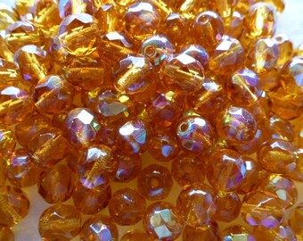 set of 12 topaz AB 8 mm Czech glass beads