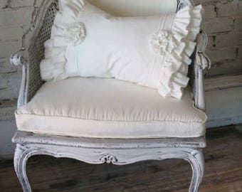linen Victorian Shabby  Chic flax ruffle decorative pillow cover ,any size