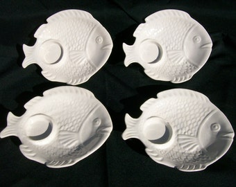 California Pottery Fish Luncheon Plates Set of 4
