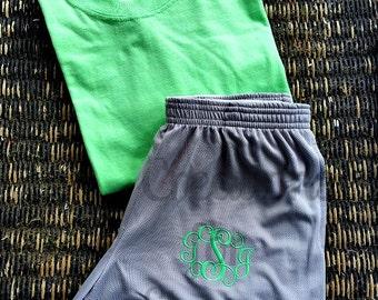Women's Monogrammed Shorts and Tshirt, Monogram Cheer Set, Monogrammed Shorts Set, Monogrammed Running Set, Monogrammed Shorts and T-shirt