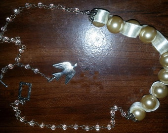 Pearls and Ribbon Necklace  (E 256)