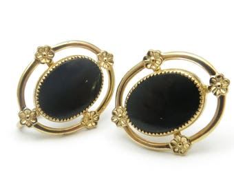 Vintage Screw Back Earrings - AMCO Mid Century 1960s 14K Yellow Gold Filled Black Onyx Floral Screw Back Earrings - Retro Jewelry