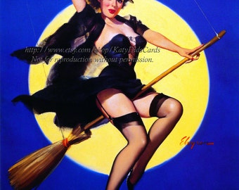Halloween Witch Print - Pinup Girl Rides Broom Full Moon - Gil Elvgren