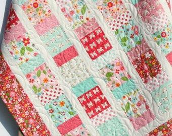 Baby Girl Quilt, Nursery Baby Bedding Blanket, Garden Girl Pink Aqua Butterflies Flowers, Handmade Unique Baby Gift, Girl Baby Quilt