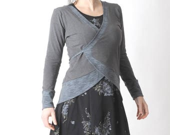 Gray jersey wrap, Long grey jersey cardigan with pointy back, Womens clothing, Gray jersey jacket, MALAM, size UK 10