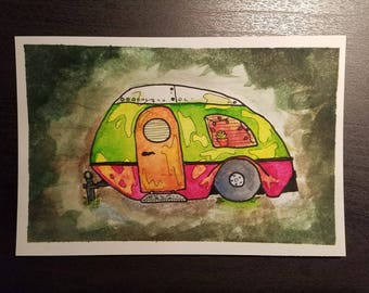 The Camper; Small Print of an Original Watercolor Painting
