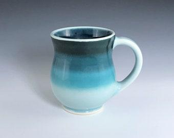 Teal Ceramic Mug, Ceramic Coffee Mug, Round Belly Ceramic Mug, Teal Porcelain Mug, Ceramic Coffee Cup, Tea Mug, Wheel Thrown Pottery Mug