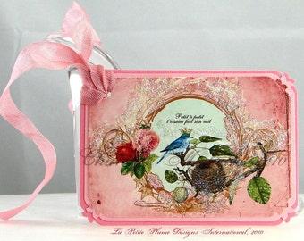 Petite Oiseau Bleu, étiquettes cadeaux inspiré Français, Set de 6