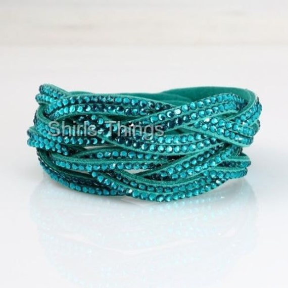 Lovely turquoise leather   rhinestone entwined wrap bracelet or choker necklace