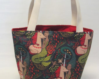 Large Knitting or Crochet Project Bag. Mermaid and Unicorn Cotton Tote Bag.