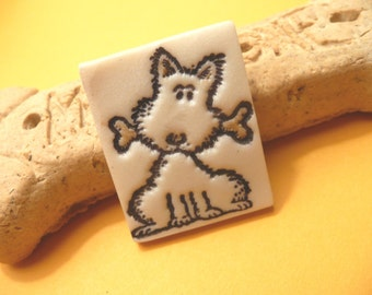 Cute Dog Pin, Pooch Brooch, Puppy With a Bone, Dog Jewelry, whimsical handmade polymer clay jewelry