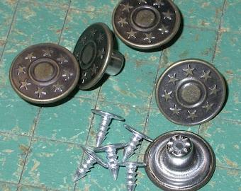 15 Metal Buttons, No Sew tack button, metal, star bullseye, 17mm, jean jacket type, Bronze Tone,