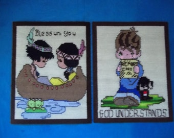 """Precious Moments Canvas Cross Stitch Pictures """"Blessum You"""" & """"God Understands"""" Wall Art FREE SHIPPING"""