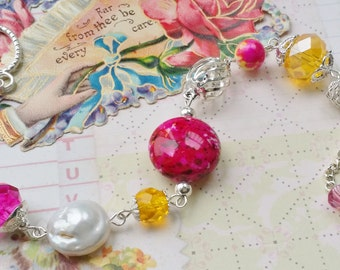 "Fuchsia and Yellow Vintage Style White Silver Beaded Bracelet ""RASPBERRY LEMONDADE"" Neo Victorian Jewelry Artistic Jewelry Unique Jewelry"