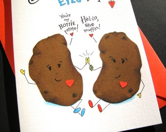 Funny Potato Pun Card -  Food Pun I Love You Card - Funny Anniversary Card - Potato Valentine - I Only Have Eyes for You