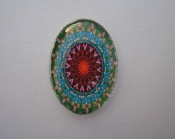 Glass cabochon oval 25 X 18 mm image with colorful green yellow Burgundy