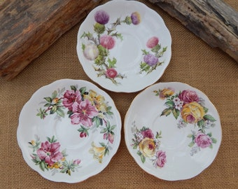 Fine Bone China Floral Saucers Made in England  ~  3 Mismatched Fine Bone China Saucers Queen Anne England  ~  Floral China Saucers