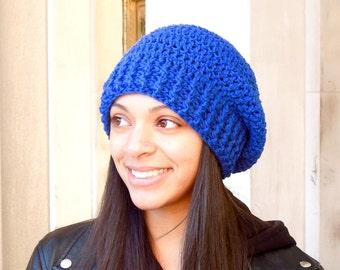 Crochet Slouchy Hat, Women, Men, Teen, Tam,  Adult, royal Blue, Ribbed, Ready To Ship,