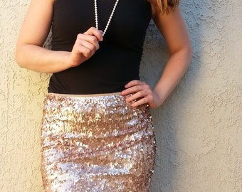 Champagne Sequin Mini Skirt