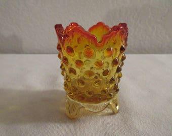 Vintage Stunning Fenton Amberina Hobnail Toothpick Holder
