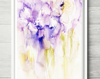 Moments, abstract painting, lilac watercolor painting,  abstract flower painting, bright abstract art, colorful abstract art