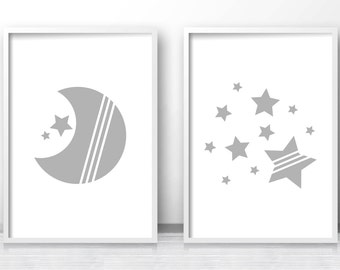 Moon And Stars Nursery Prints, Set Of Prints For Nursery, Baby Wall Art, Printable Nursery Art, Gray Nursery Decor, Gender Neutral Baby Art