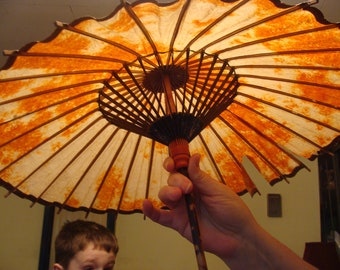 """Bamboo, Small Bamboo Parasol With A 28 Inch Handle, When Open 25"""""""