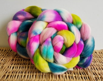 "Roving Braid, Columbian-Rambouillet Handpaint Top, ""Spring Has Sprung"" 4 oz. Braid, Hand Dyed, Pink, Green, Aqua"