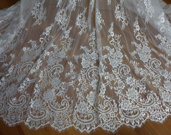 Ivory French Chantilly Lace Fabric Graceful Floral Wedding Fabric Bridal Mantilla Lace Fabric By The Yard