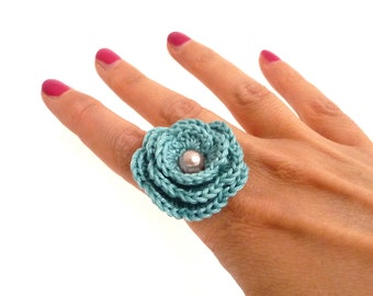 Crochet Flower Adjustable Ring - Mint Green Cotton Rose, Summer, Spring, Cocktail, Romantic Ring - Bridesmaid, Best Friend, Valentines Gift