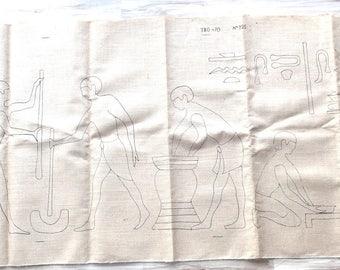 TABLE has embroidery - Egyptian fresco on burlap REF. 325