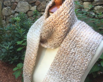 Handmade Knitted Scarf, Tan Knit Scarf, Beige Knit Scarf, Fall Scarf, Warm Scarf, Winter Knit Scarf