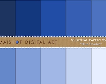 Solid Color Digital Paper 'Blue Shades' Background, Scrapbook Papers, Crafts Projects, Paper Art...